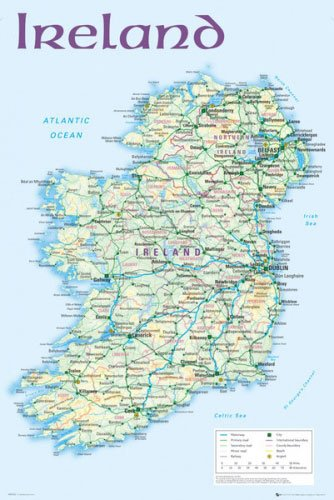 Map Of Ireland Print.Amazon Com Map Of Ireland Poster Print Size 24 X 36 Black