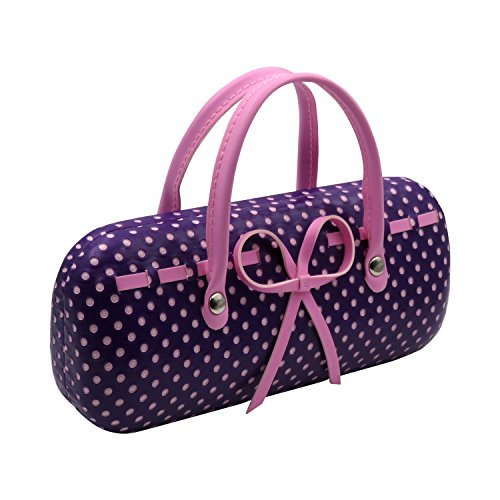 Purple Hard Protective Eyeglass Case with handles Mini handbag Eyeglass Case with cleaning cloth for Medium frames Women & Girls Small accessories| AS12TG Polka Dots Purple by MyEyeglassCase