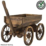Fir Wood Wagon Flower Planter Pot Rustic Wooden Stand with Wheels and Handle Garden Yard Patio Outdoor Décor Home Cart Plant Stand Wheel New
