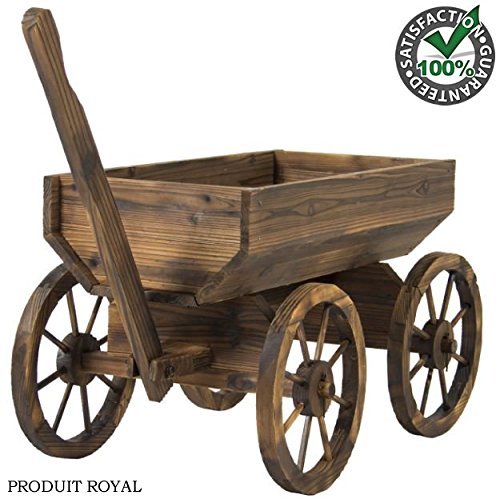 New Folding Metal Plant Stand (Fir Wood Wagon Flower Planter Pot Rustic Wooden Stand with Wheels and Handle Garden Yard Patio Outdoor Décor Home Cart Plant Stand Wheel New)