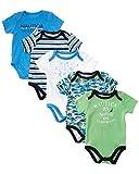 Nautica Baby Boys' Newborn Five-Pack Bodysuits, Aqua Green, 0-3 Months