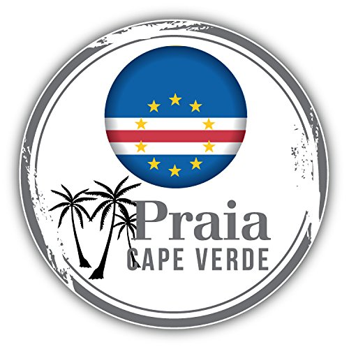 Praia Cape Verde - Praia Cape Verde World Flag Badge Art Decor Bumper Sticker 5'' x 5''