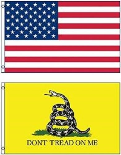 ALBATROS (Pack of 3) in X 5in USA with White Gadsden Culpepper Flag House Banner 3 ft x 5 ft for Home and Parades, Official Party, All Weather Indoors Outdoors