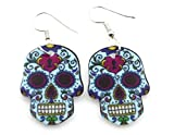 All Products : Colorful Sugar Skull Dangling Earrings - Punk - Steampunk - Skulls - Gothic - SSE2
