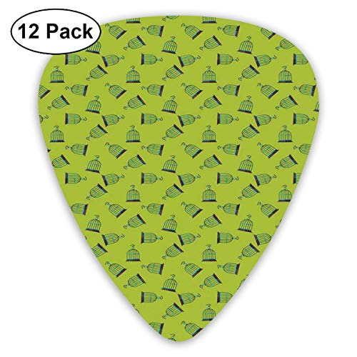 Celluloid Guitar Picks - 12 Pack,Abstract Art Colorful Designs,Pattern Of Retro Simple Graphic Bird Cage Icons On Green Backdrop,For Bass Electric & Acoustic Guitars.