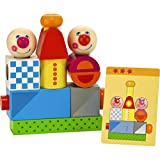 HABA Brain Builder Peg Set Building Blocks with Pattern Cards & 3 Levels of Difficulty for Ages 2+
