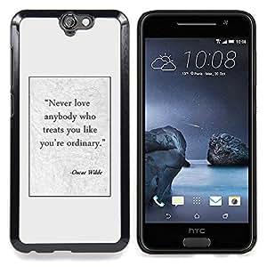 """For HTC One A9 Case , Cita Escritor Cartel Oscar Wilde texto"""" - Diseño Patrón Teléfono Caso Cubierta Case Bumper Duro Protección Case Cover Funda"""
