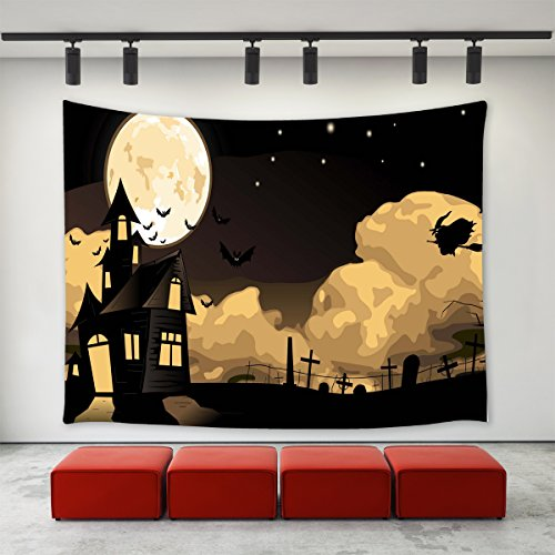 LBKT Gothic Decor Tapestries Wall Hanging for Halloween Party,Happy Halloween Eve Theme Witch Flying the Moon Night Castle Bats Tomb Print Tapestry Wall Art for Home Decor Decoration 60