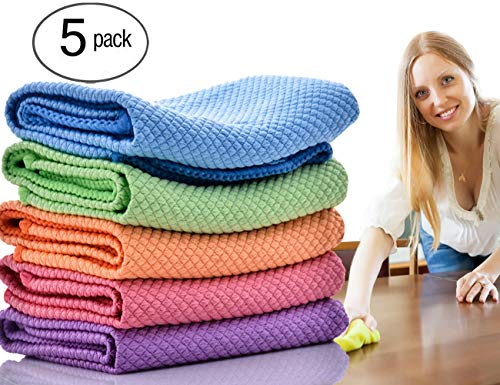 ForNeat Dish Rags Dish Cloths Kitchen Washcloths-5 Pieces 5 Colors Microfiber Glass Cleaning Cloths, Lint Free - Streak Free | Quickly Easily Clean Windows & Mirrors, 12 12-Inch