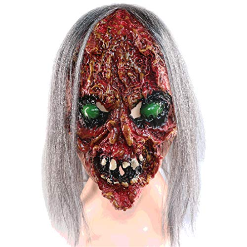 Waltz&F Halloween Long Hair Bloody face Scar Scary Horrible mask Halloween Costume Party Props Masks
