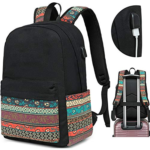 Canvas Travel Laptop Backpacks Womens College Backpack School Bag 15 inch USB Daypack Outdoor With Trolley Case Slot (Black-0062)