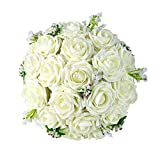 Wedding Bridal Bouquet, Febou Wedding Bride Bouquet, Wedding Holding Bouquet with Artificial Roses Lace Pearl Ribbon, Perfect for Wedding, Church, Party and Home Decor(Heart Pearl, White)