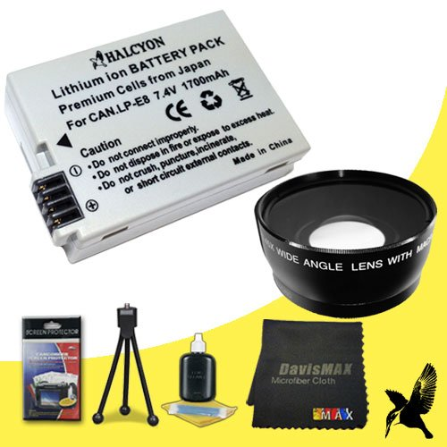 58mm Wide Angle + 2x Telephoto Lenses for Canon EOS Rebel T2i with Canon 50mm 1.8 Lens + Halcyon LP-E8 Battery for Canon EOS Rebel T2i Bundle