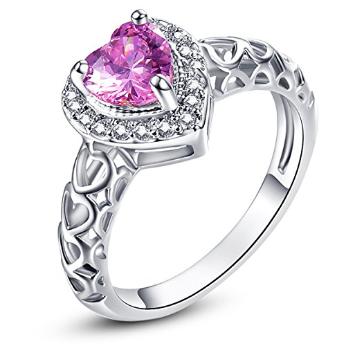 Psiroy 925 Sterling Silver Created Pink Topaz Filled Halo Heart Promise - Rings Promise Pink