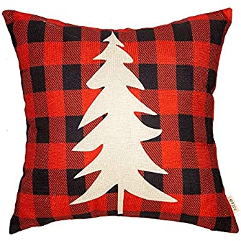 Fjfz Christmas Tree Winter Farmhouse Decor Red and Black Buffalo Checker Plaid Cotton Linen Home Decorative Throw Pillow Case Cushion Cover with Words for Sofa Couch, 18