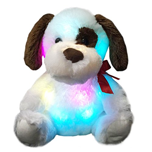 WEWILL Glow Puppy Stuffed Animal Dog Plush Toy LED Nightlight Companion Gift for Kids on Birthday Christmas Halloween Festivals,12-Inch -