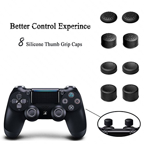YOUSHARES PS4 Slim Vertical Stand with Dual Cooling Fan, Dual Controller Charging Station and 3 Extra USB Port for Playstation 4 Console and PS4 DualShock 4 Controllers + 8 Controller Grip Cover Caps
