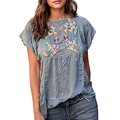 Uefaof Women Ethic Style Top Embroidery Floral Print Blouse Casual Loose Leisure Shirt Summer Short Tee