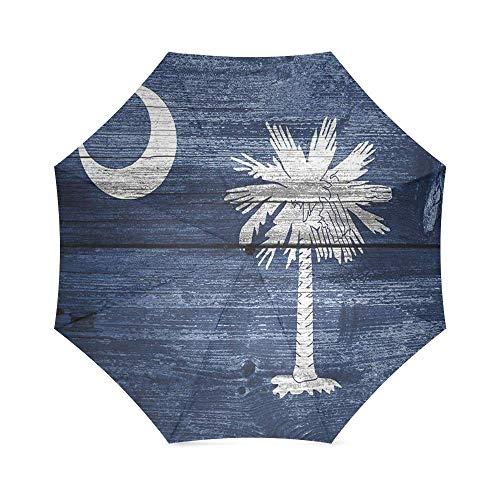 South Carolina State Flag Foldable Rain Umbrella Compact Parasol/Sun Umbrella