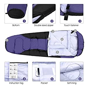 ENKEEO Mummy Camping Sleeping Bag 83 x 32 Inch 20-30 Degree Ultralight Sleeping Bag with Waterproof Taffeta Shell/Breathable Hollow Cotton, Compression Sack for 4 Season Hiking (Black & Purple)