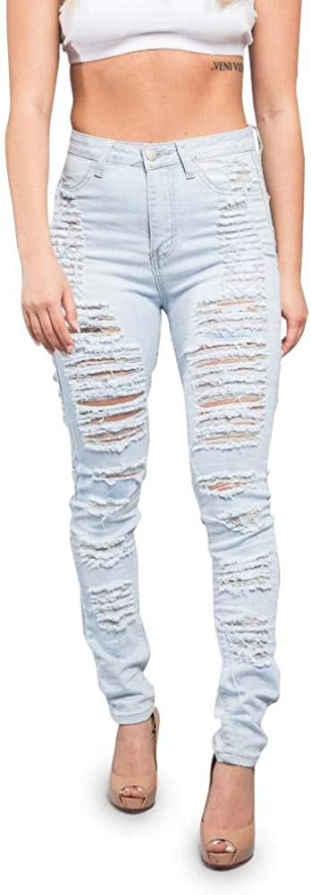 Women's Ripped Knee Skinny Fit Denim Bottoms