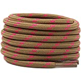 DELELE 2 Pair Non-slip Outdoor Mountaineering Hiking Walking Shoelaces Round Light Brown Rose Red String Rope Boot Laces Strong Durable Bootlaces-55.12