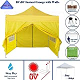 10'x10′ Pop up 4 Wall Canopy Party Tent Gazebo Ez Yellow – E Model By DELTA Canopies For Sale