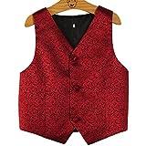PYJTRL Boys Wedding Waistcoat (Red, Size 8/Height 115-125cm)
