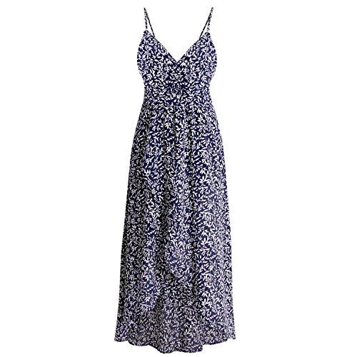 Robert Reyna Fashion Sexy deep V Halter Slit Dress Print Dress New Beach Dress,Blue Bottom -