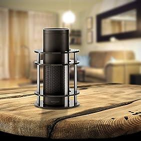 #1 Acrylic Amazon Alexa Echo Speaker Stand (Black) - Enhanced Strength and Stability to Protect Alexa Boom Speaker - Mount Stabilizes Sound - Sleek Smart Home Décor