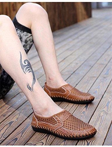 pelle confortevole in traspirante in uomo mesh Brown casual on Scarpe Scarpe scarpe moda vera uomo morbido slip nuovo estate estive zqdCwx4T