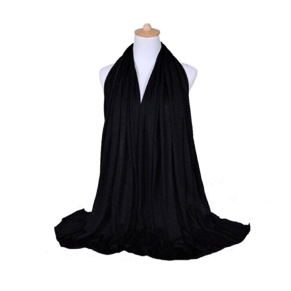 Elegance Collections Muslim Women's Jersey Hijab Khimar Soft Rectangle One Size, Black, 180x80cm