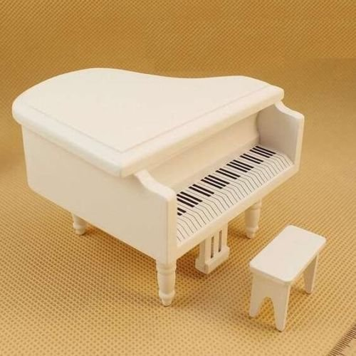 EatingBitiing(R) Dollhouse Miniature Doll Piano with Chair , 1:12 Dollhouse Miniature Furniture White Piano with Chair Dollhouse Miniature 1:12 Scale Fairy Doll Home Scene , Elegant Vivid from EatingBiting(R)