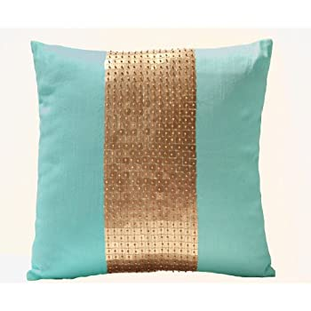 Amore Beaute Handmade Teal Pillow Covers  Teal Gold Color Block In Silk And  Sequin