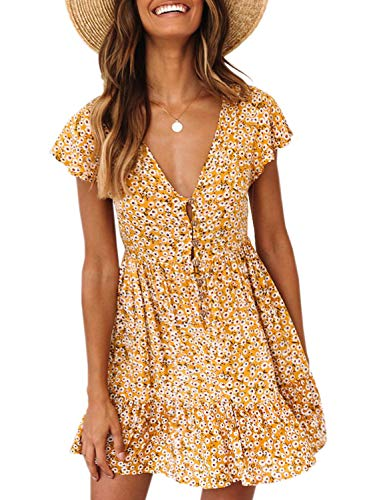 FIYOTE Women Summer Loose V Neck Floral Print Short Sleeve Casual Mini Short Sundresses Small Size Yellow