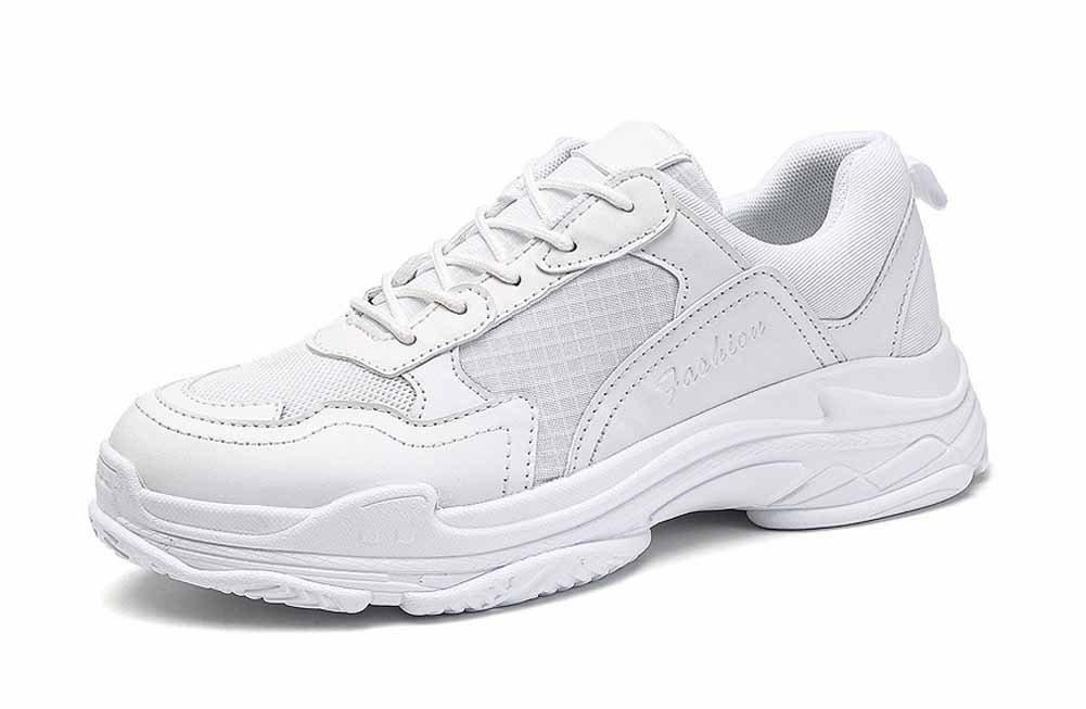 Hombres Respirable Trotar Zapatos 2018 Verano Deportes Grueso Plataforma Aumentado Aptitud Zapatos (Color : Blanco, tamaño : 45) 45|Blanco