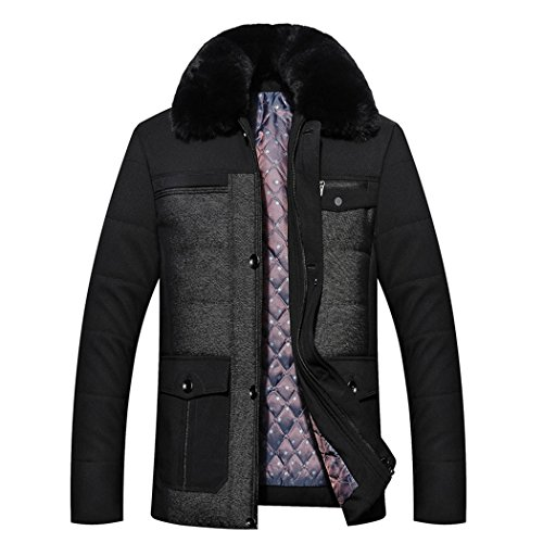 180 The men's collar padded fur casual middle HHY thickening black aged winter cotton 7dqT1Yp