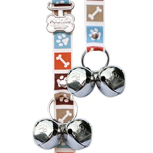 PoochieBells Housetraining Dog Doorbell, Bone Appetite Brown Design, Paw Prints and Dog Bones