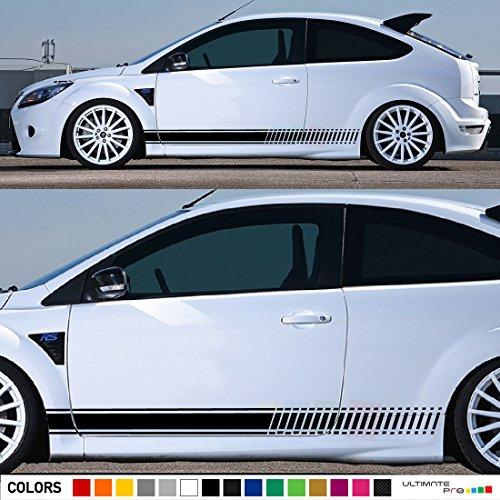 2x Decal Sticker Vinyl Side Racing Stripes Compatible with Ford Focus ST RS Mk2 3 Door 2004-2010 (Panels Rs Door)