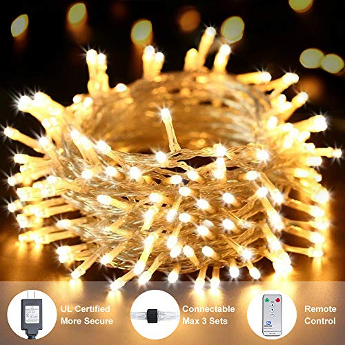 Ollny Outdoor String Lights 66ft 200 LEDs Warm White Christmas Fairy String Lights 8 Modes with Remote and Timer Plug in use for Indoor Bedroom Wedding Party Patio Christmas Lights CONNECTABLE