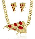 Goldtone with Red Pepperoni Pizza Pendant with an 18-19 Inch Adjustable Cuban Link Necklace with Matching Earrings Jewelry Set (B-2501)