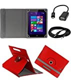 ECellStreet ™ PU Leather Rotating 360° Flip Case Cover With Tablet Stand For HCL ME Y3 - Red + Free Aux Cable + Free OTG Cable