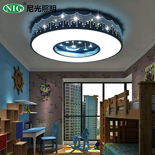 BGmdjcf Circular stars children's room Ceiling lamp led lights light rooms bedroom warm Girls Boys Simple remote control lamps , Blue 3 color light -50CM-