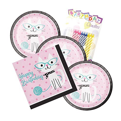 Purr-fect Kitty Cat Party Theme Plates and Napkins Serves 16 With Birthday Candles -