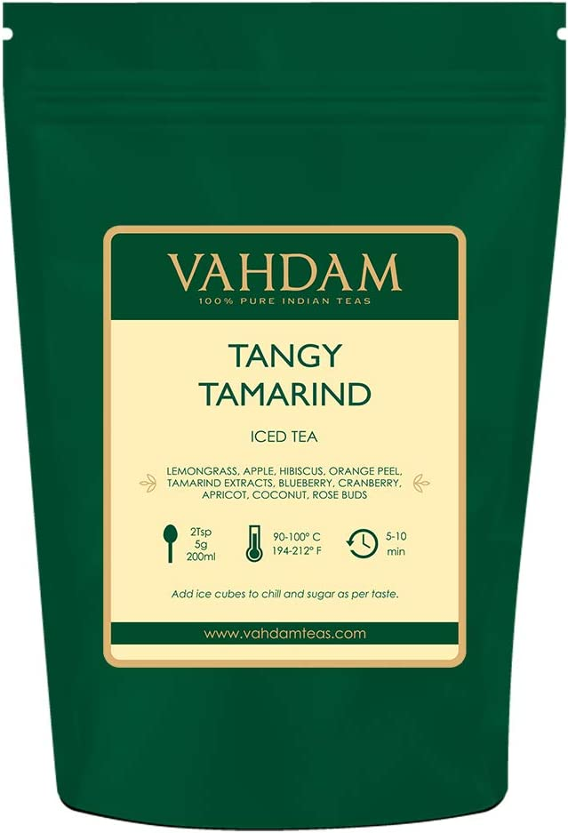 VAHDAM, Té Helado de Tamarindo Tangy   40 porciones, 8 cuartos   Ingredientes 100% naturales   Sabor delicioso de tamarindo y frutas exóticas tropicales   Té helado de hierbas   200gr   De la india