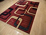New Modern Rugs For Bedroom 5×8 Red Area Rugs Rugs For Living Room 5×7 Navy Red Beige Contemporary Rugs 5 by 7 Rugs for Kitchen Dining Room Rug For Sale