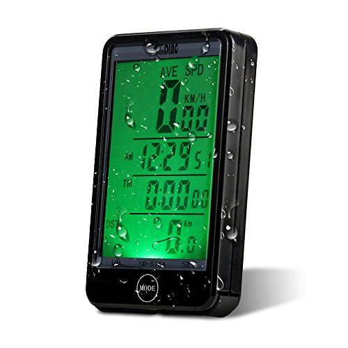 Bike computer, Waterproof Backlit Cycling Computer Speedometer Odometer Touch LCD Computer with Big Screen Back-light (Black)