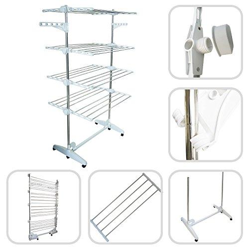 todeco Wäscheständer–Wäscheständer Praxis hohe Kapazität mit 4Etagen, verstellbar