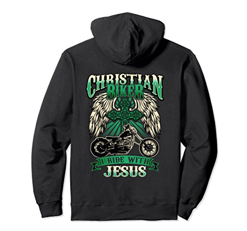 Unisex Christian Biker Hoodie Ride With Jesus Religious Back Print Large (Biker Babes Print T-shirts)