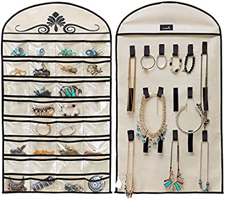 32 Pocket Jewelry Hanging Organizer Earrings Necklace Display Holder Dual Side
